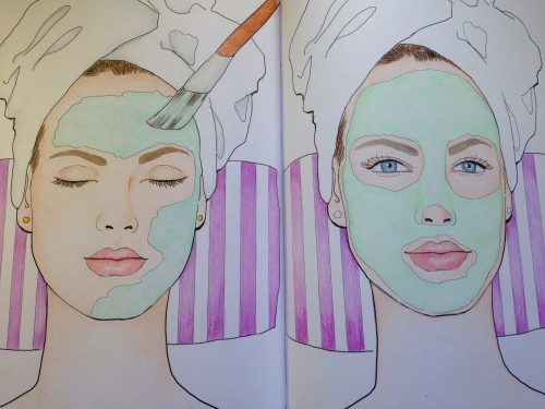 Image from My Makeup Coloriages. Can you tell which is coloured with Scholars and which is coloured wth Premiers?