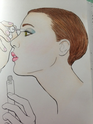 Image: My Makeup Coloriages coloured with Hilroy coloured pencils.